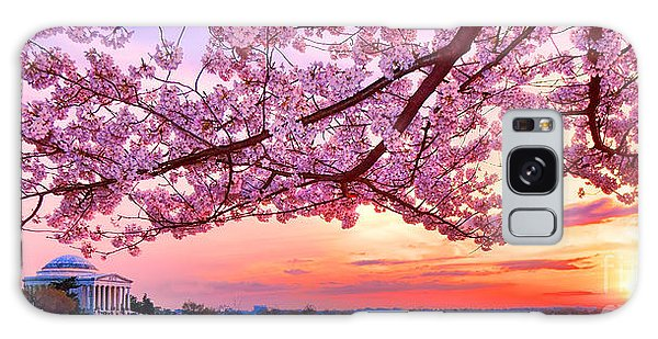 Glorious Sunset Over Cherry Tree At The Jefferson Memorial  Galaxy Case