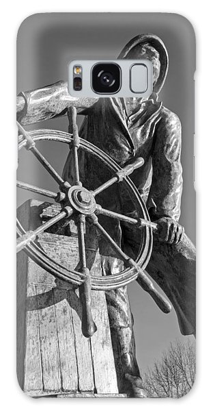 Gloucester Fisherman's Memorial Statue Black And White Galaxy Case