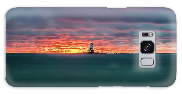 Glowing Sunset On Lake With Lighthouse Galaxy Case