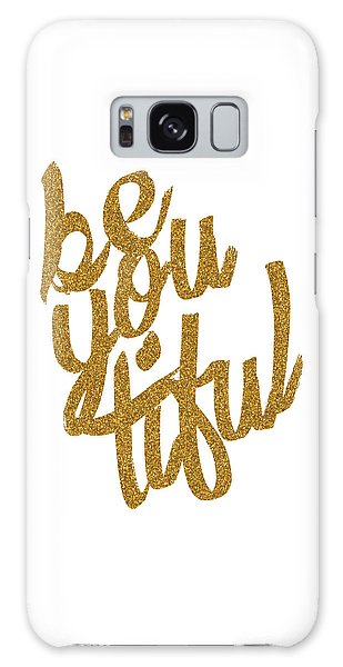 Gold 'beyoutiful' Typographic Poster Galaxy Case