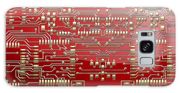 Pop Art Galaxy Case - Gold Circuitry On Red by Serge Averbukh