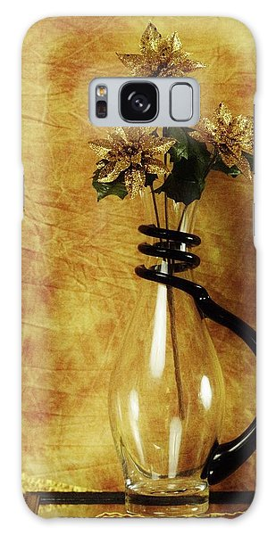 Gold Flowers In Vase Galaxy Case