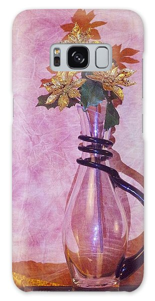 Gold Flowers Pink Background Galaxy Case