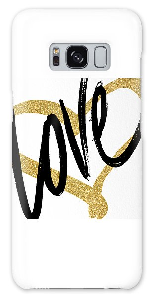 Gold Galaxy Case - Gold Heart Black Script Love by South Social Studio