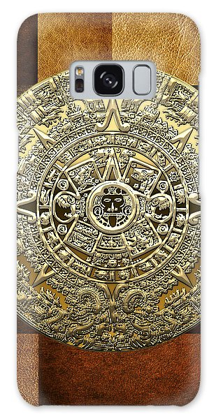 Gold Mayan-aztec Calendar On Brown Leather Galaxy Case