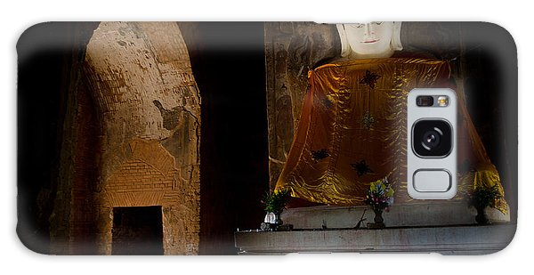 Gold Shrouded Buddha In Burma Basks In Natural Light By Temple Portal Galaxy Case
