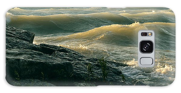 Golden Capped Sunset Waves Of Lake Michigan Galaxy Case