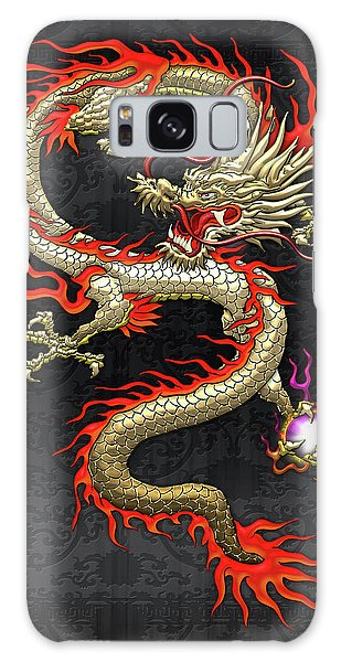 Golden Chinese Dragon Fucanglong On Black Silk Galaxy Case