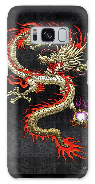 Golden Chinese Dragon Fucanglong On Black Silk Galaxy Case