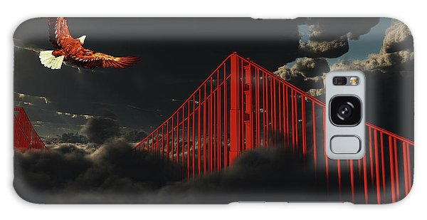 Golden Gate Bridge In Heavy Fog Clouds With Eagle Galaxy Case by Bruce Rolff