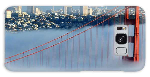 Golden Gate Bridge Tower In Sunshine And Fog Galaxy Case by Jeff Lowe