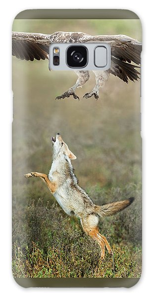 Golden Jackal, Canis Aureus, Leaping At Vulture Galaxy S8 Case