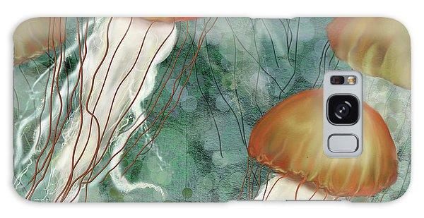 Golden Jellyfish In Green Sea Galaxy Case