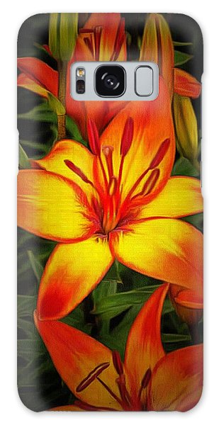 Golden Lilies Galaxy Case