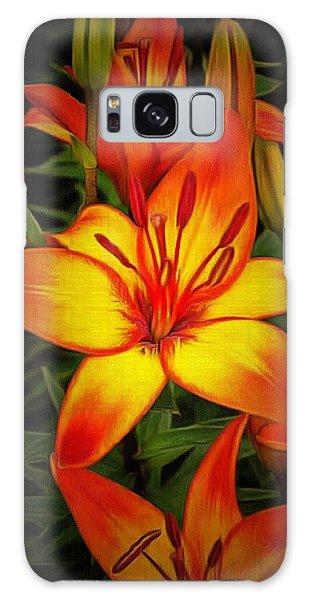 Golden Lilies Galaxy Case