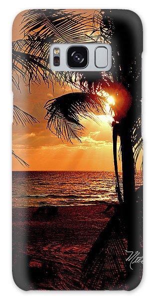 Golden Palm Sunrise Galaxy Case by Meta Gatschenberger