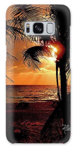 Golden Palm Sunrise Galaxy Case