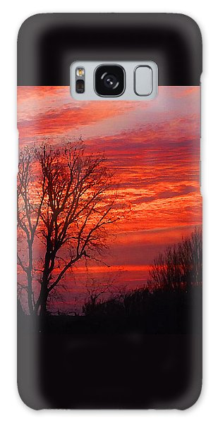 Golden Pink Sunset With Trees Galaxy Case