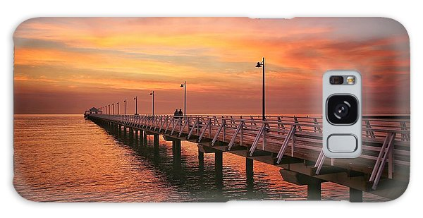 Golden Red Skies Over The Pier Galaxy Case