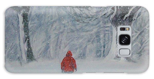 Golden Retriever Winter Walk Galaxy Case by Lee Ann Shepard