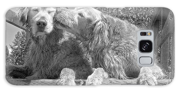 Comical Galaxy Case - Golden Retrievers The Kiss Black And White by Jennie Marie Schell