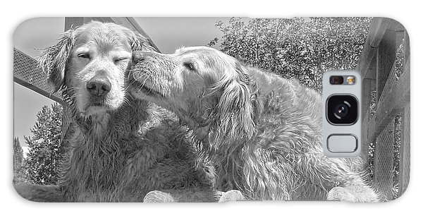 Marie Galaxy Case - Golden Retrievers The Kiss Black And White by Jennie Marie Schell