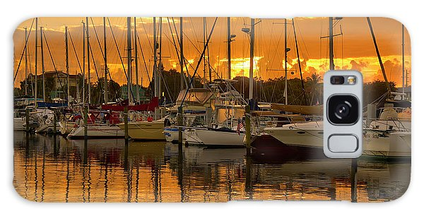 Golden Sailboat Sunrise Over Stuart Marina, Florida Galaxy Case