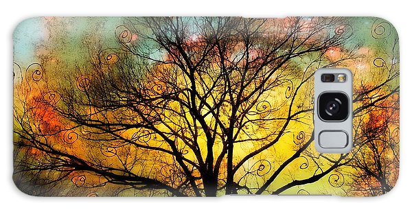 Golden Sunset Treescape Galaxy Case by Barbara Chichester