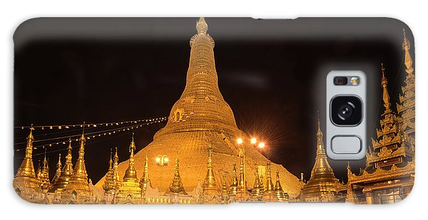 Galaxy Case featuring the photograph Golden Temple Of Yangon, Shwedagon Pagoda At Night, Myanmar by Pradeep Raja PRINTS