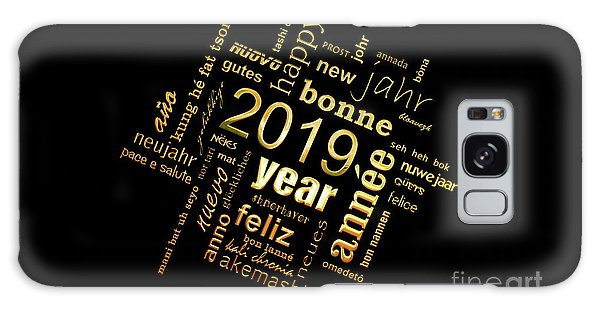 Language Galaxy Case - Golden Word Cloud New Year Card by Delphimages Photo Creations