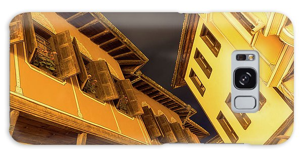 Golden Yellow Night - Chic Zigzags Of Oriel Windows And Serrated Roof Lines Galaxy Case