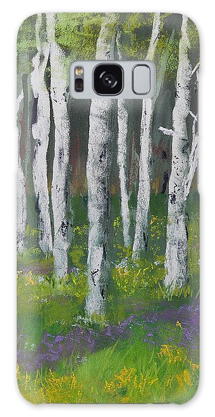 Goldenrod Among The Birch Trees Galaxy Case
