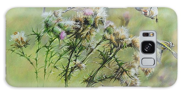 Goldfinches On Thistle Galaxy Case