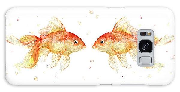 Goldfish Galaxy Case - Goldfish Love Watercolor by Olga Shvartsur
