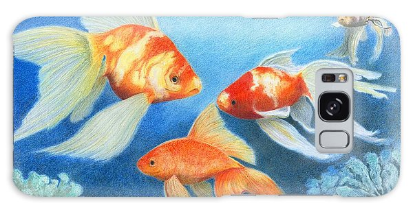 Galaxy Case featuring the drawing Goldfish Tank by Phyllis Howard