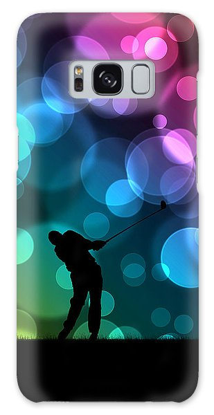 Golfer Driving Bokeh Graphic Galaxy Case by Phil Perkins