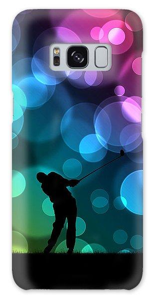 Golfer Driving Bokeh Graphic Galaxy Case