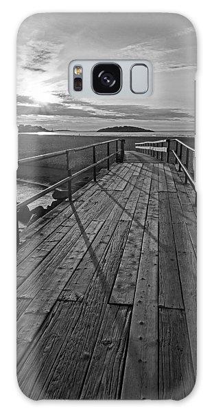 Good Harbor Beach Footbridge Shadows Black And White Galaxy Case