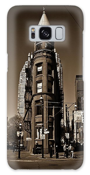 Galaxy Case featuring the photograph Gooderham Flatiron Building Toronto Canada Sepia Version by Brian Carson