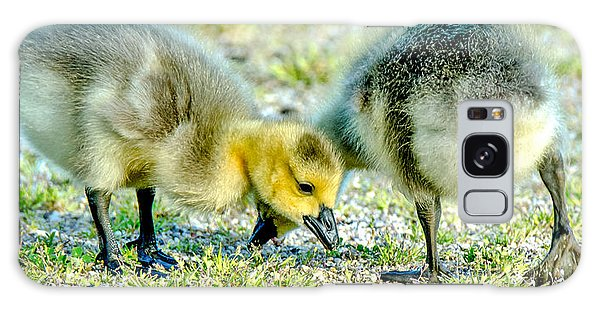 Galaxy Case featuring the photograph Goslings Snacking by Steven Santamour