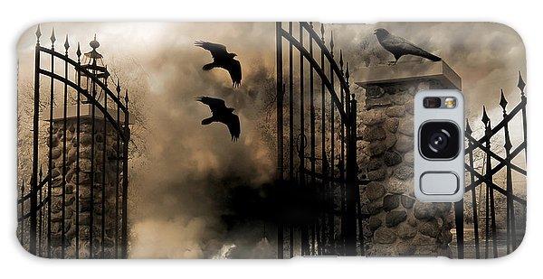 Gothic Surreal Fantasy Ravens Gated Fence  Galaxy Case