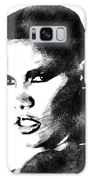 Grace Jones Bw Portrait Galaxy Case by Mihaela Pater