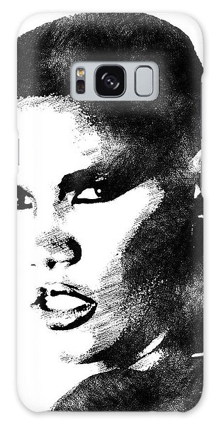 Grace Jones Bw Portrait Galaxy Case by Mihaela Pater