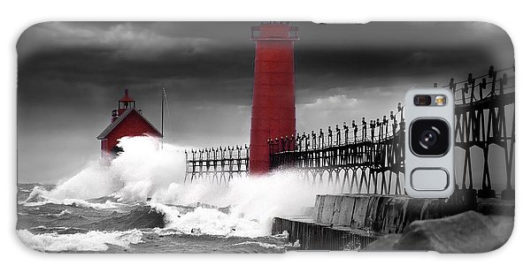 Grand Haven Lighthouse In A Rain Storm Galaxy Case