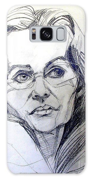 Graphite Portrait Sketch Of A Woman With Glasses Galaxy Case
