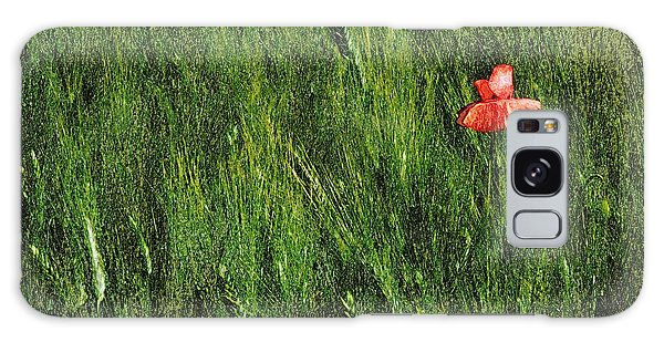 Grassland And Red Poppy Flower 2 Galaxy Case