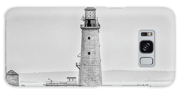 Graves Lighthouse- Boston, Ma - Black And White Galaxy Case by Peter Ciro