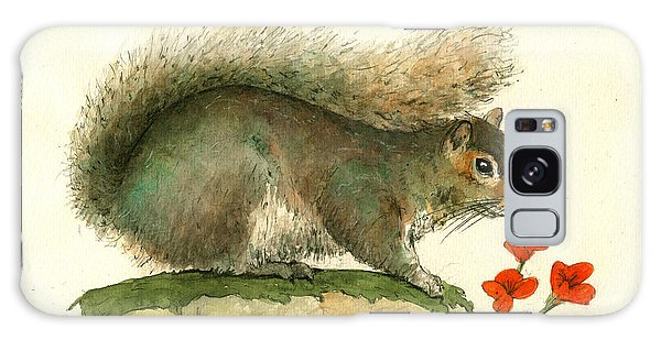 Gray Squirrel Flowers Galaxy Case by Juan Bosco