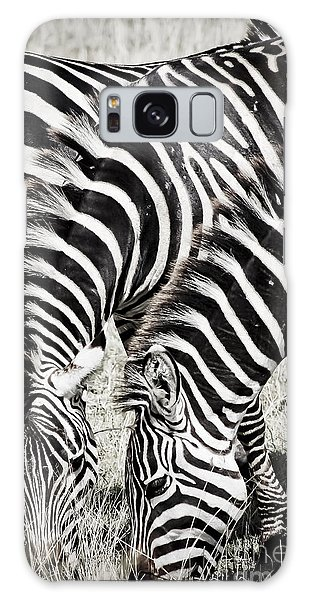 Grazing Zebras Close Up Galaxy Case by Darcy Michaelchuk