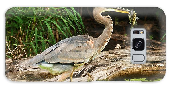 Great Blue Heron Catch Galaxy Case by Edward Peterson
